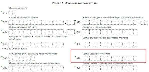 Строка 070 в 6-НДФЛ за полугодие: заполнение налоговой декларации