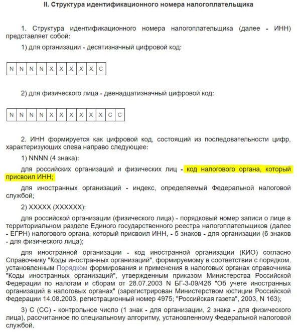 Структура ИНН, выдержка из приказа ФНС России N ММВ-7-6/435