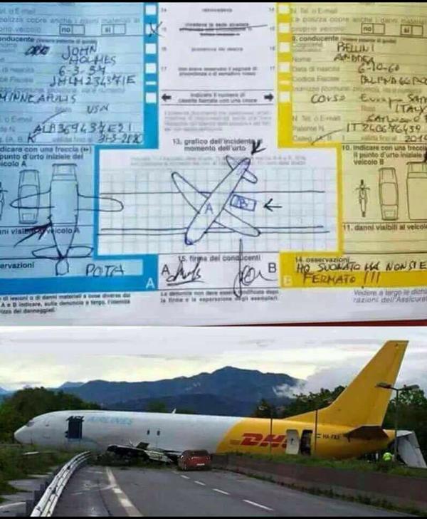Пример использования европротокола в том случае, когда второй участник аварии – самолет