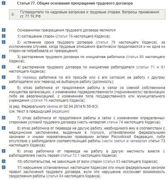 Статья 77. Общие основания прекращения трудового договора