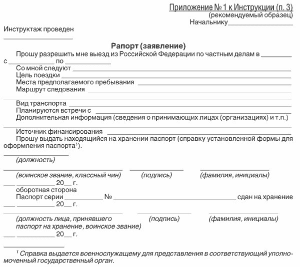 Рапорт на выезд за пределы РФ