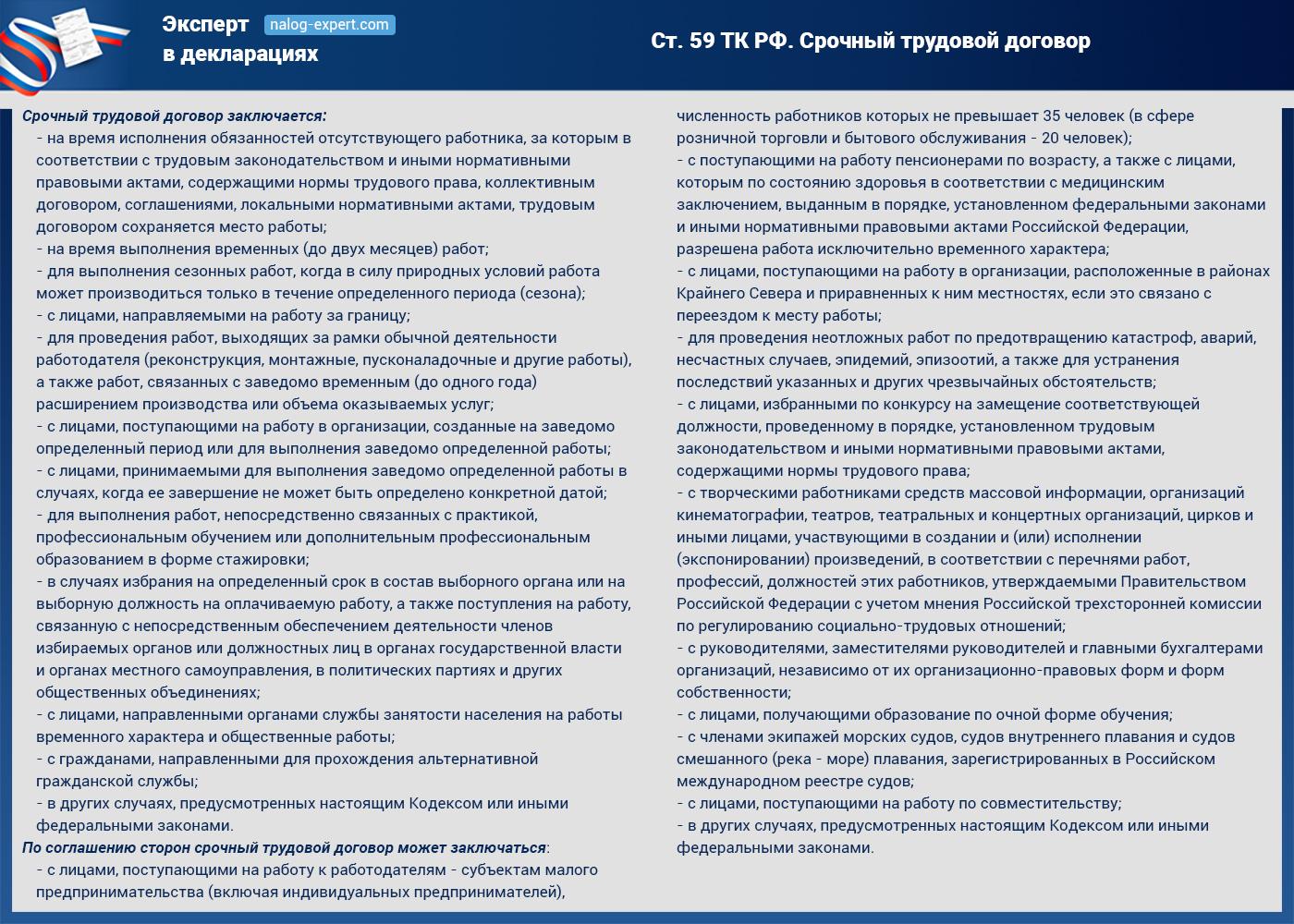 Ст. 59 ТК РФ. Срочный трудовой договор (кликните по картинке, чтобы увеличить)