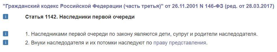 Статья 1142 ГК РФ. Наследники первой очереди