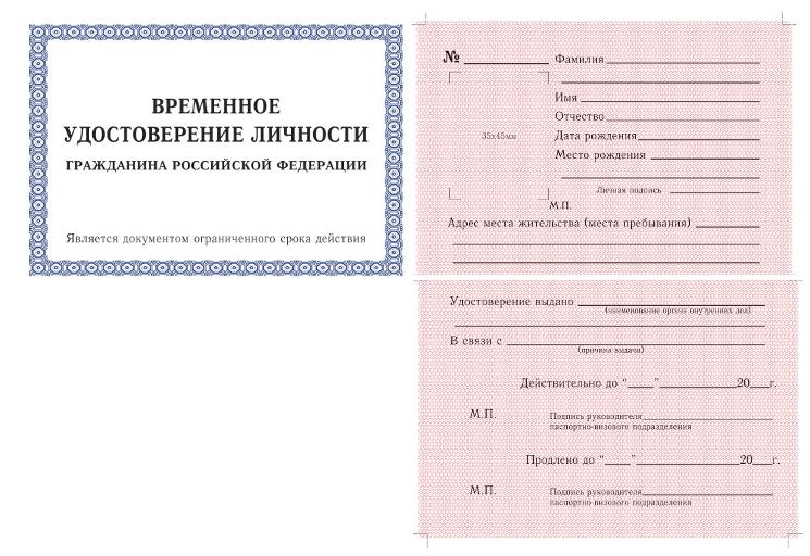 Временное удостоверение: образец